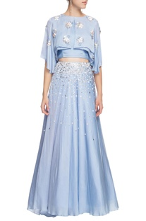 Serenity blue cape top with skirt