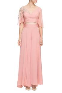 Blush pink gota patti cape top with palazzos