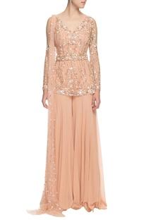 Beige sequin embellished kurta set
