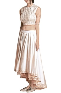 Ivory floral applique skirt and top