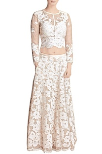 White floral applique skirt with crop top