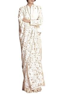 White floral applique sari with jacket blouse