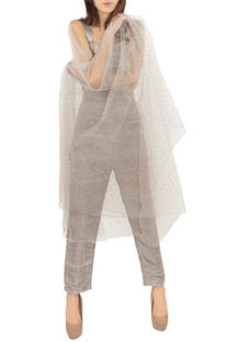 Grey raw silk jumpsuit with an embellished stole