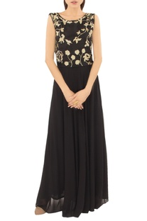 Black yoke embellished gown