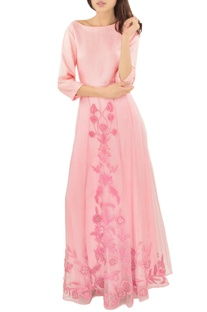 Baby pink applique work skirt with top