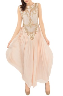 Blush pink embellished pleated gown