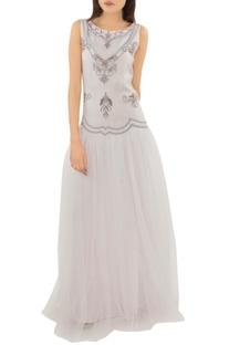 Cloud grey embellished tulle gown