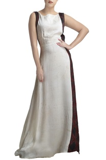 White linen gown with printed side panels