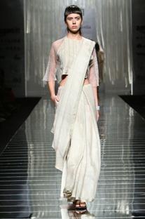 Light grey linen sari