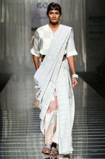 Grey & white handwoven sari