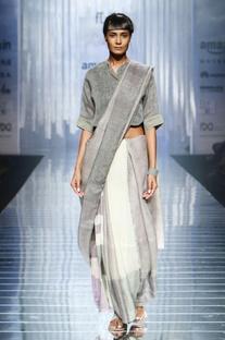 Grey & white handwoven linen sari