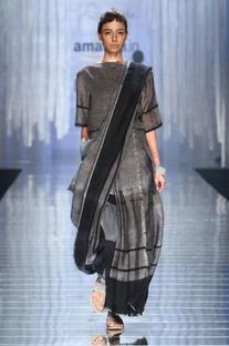 Dark grey handwoven sari with black stripes