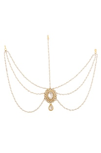 White & gold pearl matha-patti