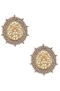 Circular semi-precious diamonds & pearls ear studs