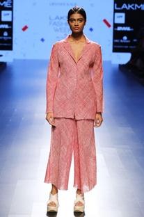Salmon pink khadi linen collared jacket