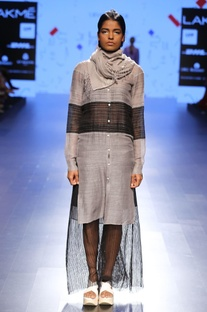 Grey & black sheer tunic