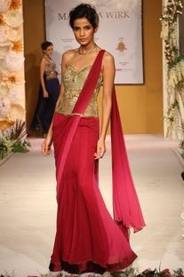 Deep pink & gold embellished draped sari