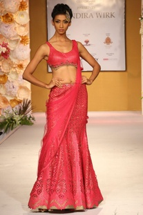 Pink laser cut work embellished lehenga set