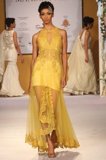 Yellow resham embroidered gown