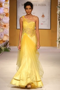 Yellow one shoulder embroidered drape gown