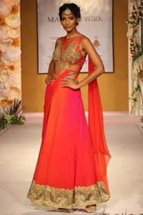 Pink & orange draped sari with embroidered bodice