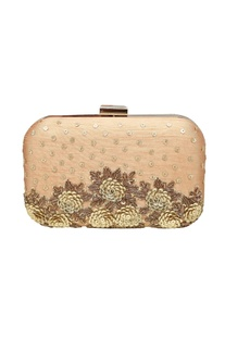 Classic gold embroidered clutch