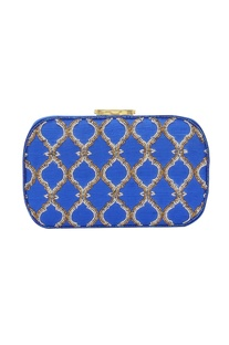Royal blue Japanese bead embellished clutch