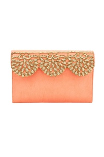 Salmon orange Japanese glass bead  work embellished box clutch