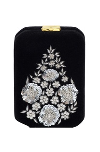 Black box clutch with silver zardozi embellishments