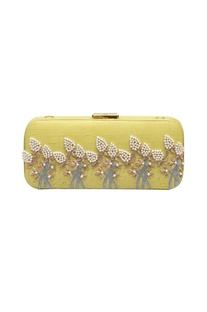 Pastel yellow bead & mirror work box clutch