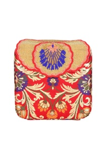 Red box clutch with tibetan brocade embroidery