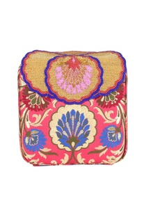 Pink box clutch with tibetan brocade embroidery