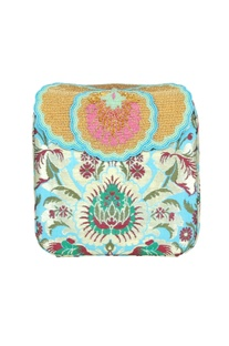 Blue box clutch with tibetan brocade embroidery
