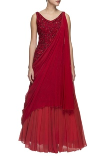 Red embellished gown with drape