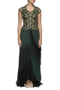 Emerald green embroidered draped gown