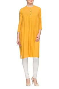 Mustard pleated long kurta