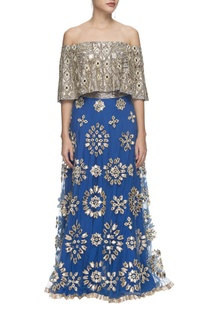 Blue & silver mirror embellished lehenga and cape