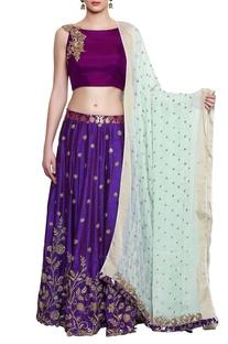Purple & royal blue embroidered lehenga set