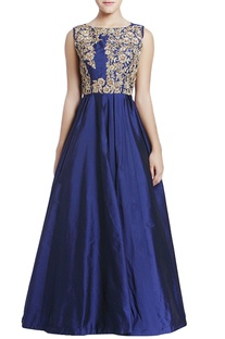 Midnight blue embroidered gown with cutout back