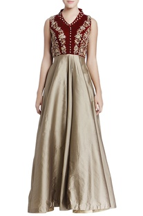 Maroon & beige embroidered gown with cutout back detail