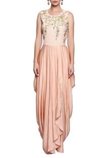 Peach embellished dhoti-style dress