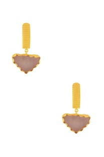 Gold plated danglers with white stone