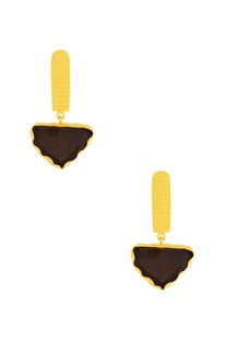 Gold plated danglers with brown stone