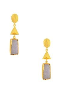 Gold plated drop earrings with white semi-precious stone