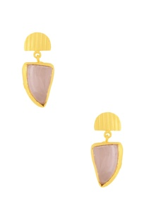Gold plated danglers with semi-precious stone