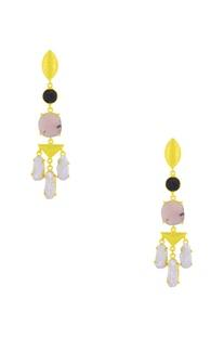 Gold finish semi-precious stone drop earrings