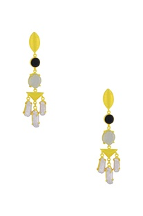 Gold finish drop earrings with semi-precious stones