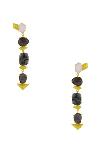 Gold finish danglers with marbled semi-precious stones
