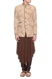 Beige floral jacket with brown kurta & churidar