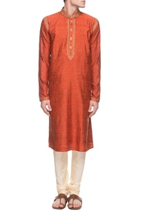 Rust orange embroidered kurta set